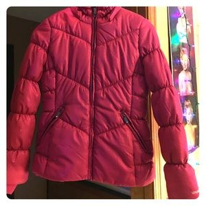 Girls Pink London fog winter coat with sparkles